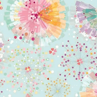 Tissu patchwork pissenlits et papillons fond ciel - Confetti blossoms