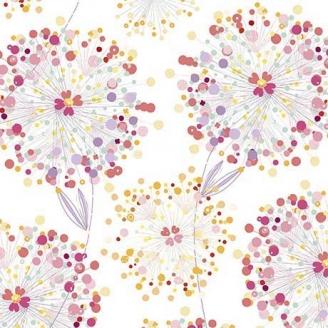 Tissu patchwork pissenlits et papillons fond blanc cassé - Confetti blossoms
