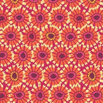 Tissu pacthwork fleurs abstraites oranges fond fuchsia - Sundance de Beth Studley
