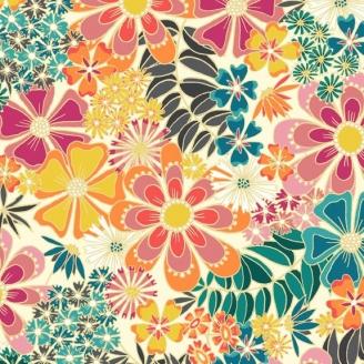 Tissu patchwork fleurs multico fond écru - Sundance de Beth Studley