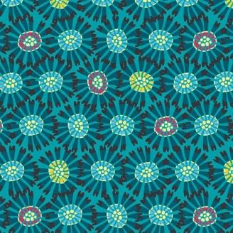 Tissu patchwork fleurs abstraites fond bleu - Sundance de Beth Studley