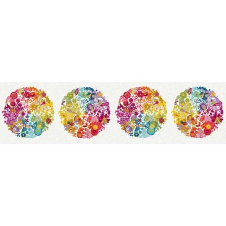 Tissu patchwork sphères Ex-Libris multico fond écru - Alison Glass (30 cm x 110 cm))