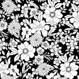 Tissu patchwork grandes fleurs blanches fond noir - Black Tie