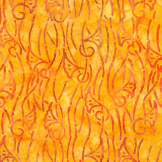 Tissu batik arôme fond jaune d'or