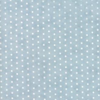 Tissu patchwork classique pois blancs fond bleu ciel - Victoria de 3 Sisters