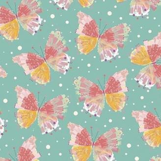 Tissu patchwork papillons fond vert jade - Confetti blossoms