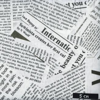 Tissu patchwork articles de journaux noir et blanc cassé - Story