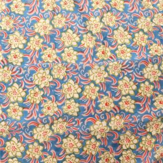 Voile de coton indien - fleurs blanches fond bleu