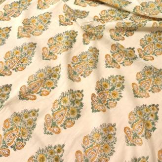 Voile de coton indien - motif cachemire jaune et vert fond écru