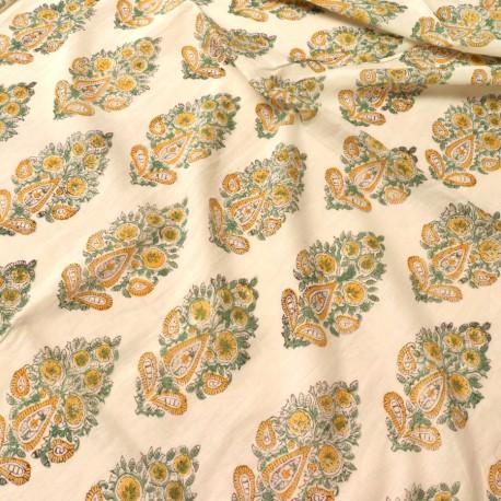 Voile de coton indien - motif cachemire jaune et vert fond écru - AU ... 04cc85982c2