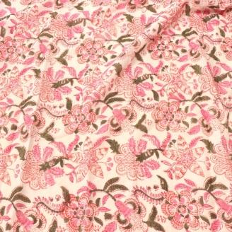 Voile de coton indien - Fleurs indiennes roses fond écru