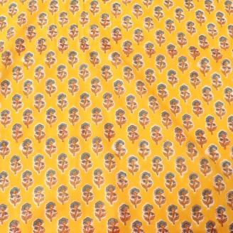 Voile de coton indien - Fleurs bleues fond jaune