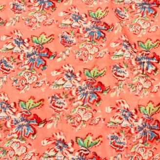 Voile de coton indien - Fleurs rouge et bleu fond corail