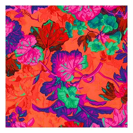 Tissu Philip Jacobs -  Feuille Grandiose fond orange PJ013