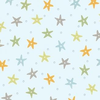 Tissu patchwork étoiles de mer fond bleu ciel - Little Squirt