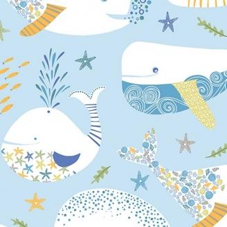 Tissu patchwork grandes baleines fond bleu clair - Little Squirt