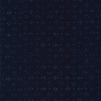 Tissu batik moderne - Losanges fantaisie bleu indigo