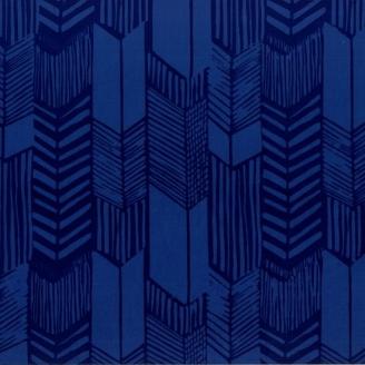 Tissu batik moderne - Plumes de flèches bleu de Prusse