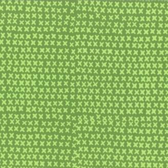 Tissu batik moderne - Croix fond vert fougère