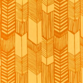 Tissu batik moderne - Plumes de flèches jaune d'or