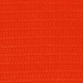 Tissu batik moderne - Frises rectangulaires Orange Vermillon