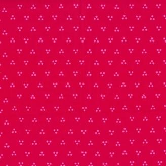 Tissu batik moderne - Trio de pois rouge Géranium