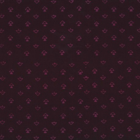 Tissu batik moderne - Double triangles fond Prune
