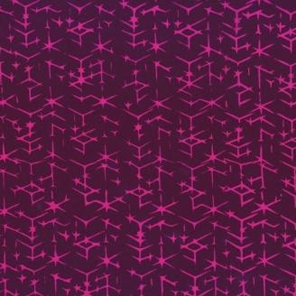 Tissu batik moderne - Double triangles fond Prune
