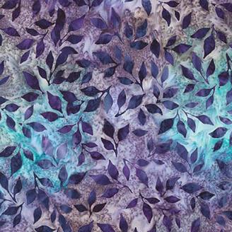 Tissu batik feuillage violet fond turquoise
