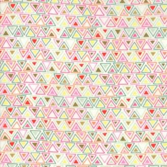 Tissu patchwork triangles verts et roses fond écru - Meraki de Basic Grey