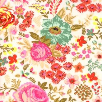 Tissu patchwork roses anciennes fond écru - Meraki de Basic Grey