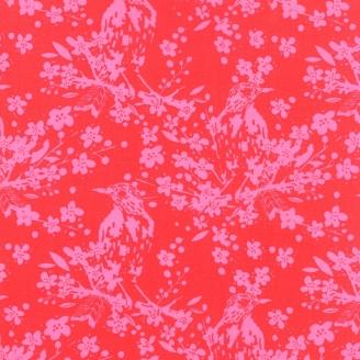 Tissu patchwork oiseau rose fond rouge - Painted Garden de Moda