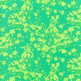 Tissu patchwork oiseau anis fond vert - Painted Garden de Moda