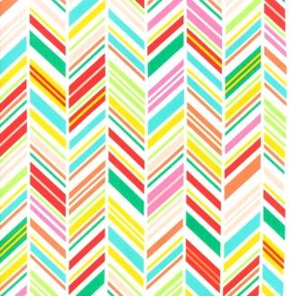Tissu patchwork chevrons multicolores - Painted Garden de Moda