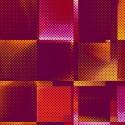 Tissu patchwork carrés violet jaune orange - Moxie