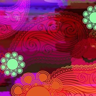 Tissu patchwork grandes fleurs et cachemires orange et rose - Moxie
