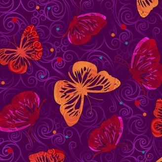 Tissu patchwork papillons oranges fond violet - Moxie
