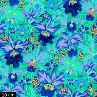 Tissu Philip Jacobs - Grandes orchidées bleues fond vert Orchids PJ092