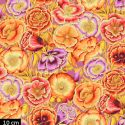 Tissu Philip Jacobs - Coquelicots fond mauve Poppy Garden PJ095