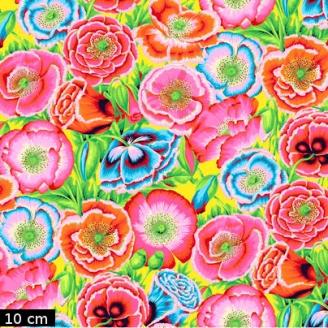 Tissu Philip Jacobs - Coquelicots fond jaune Poppy Garden PJ095