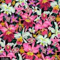 Tissu Philip Jacobs - Grandes orchidées Orchids fond noir PJ092