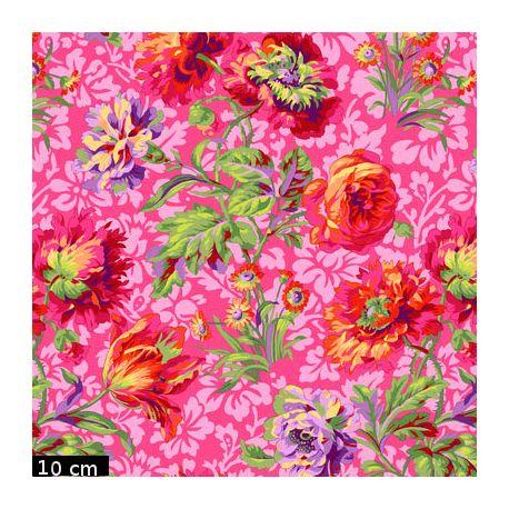 Tissu Philip Jacobs - Grandes fleurs Baroque Floral fond rose PJ090