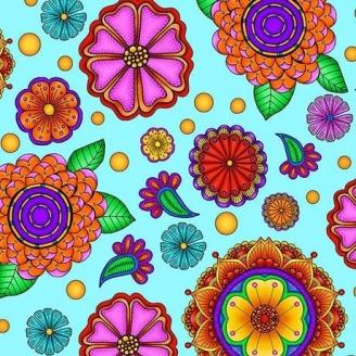 Tissu patchwork grandes fleurs hypnotiques fond turquoise - Carnivale