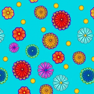 Tissu patchwork fleurettes fond turquoise - Carnivale
