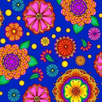 Tissu patchwork grandes fleurs hypnotiques fond bleu indigo - Carnivale