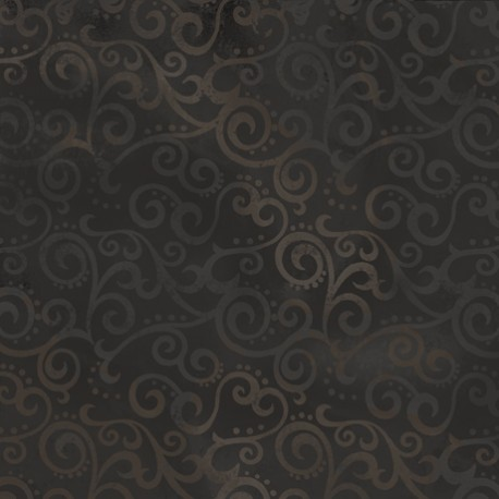 Tissu patchwork faux-uni Arabesque Noir - Ombre Scroll