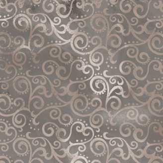 Tissu patchwork faux-uni Arabesque Gris Galet - Ombre Scroll