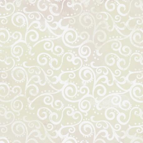 Tissu patchwork faux-uni Arabesque Ecru Crystal - Ombre Scroll