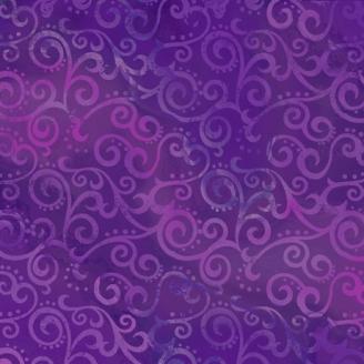 Tissu patchwork faux-uni Arabesque Violet Raisin - Ombre Scroll