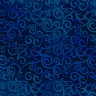 Tissu patchwork faux-uni Arabesque Bleu Marine - Ombre Scroll